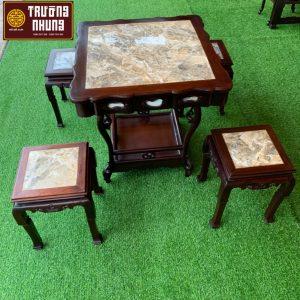 bộ - bàn - ghế - ăn - bàn - trà - nhỏ - nhất mặt - đá - ĐỒ - GỖ - XƯA - TRƯỜNG - NHUNG