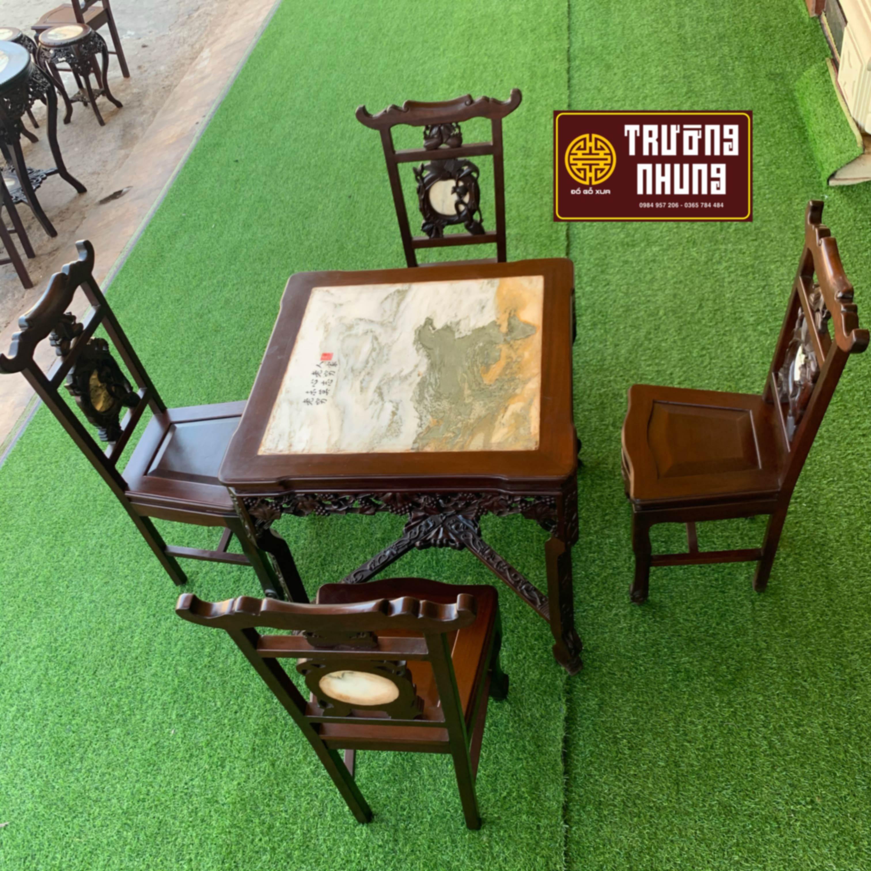 Bộ - ghế - ăn - 4 - ghế - gỗ - gụ - ĐỒ - GỖ - XƯA - TRƯỜNG - NHUNG