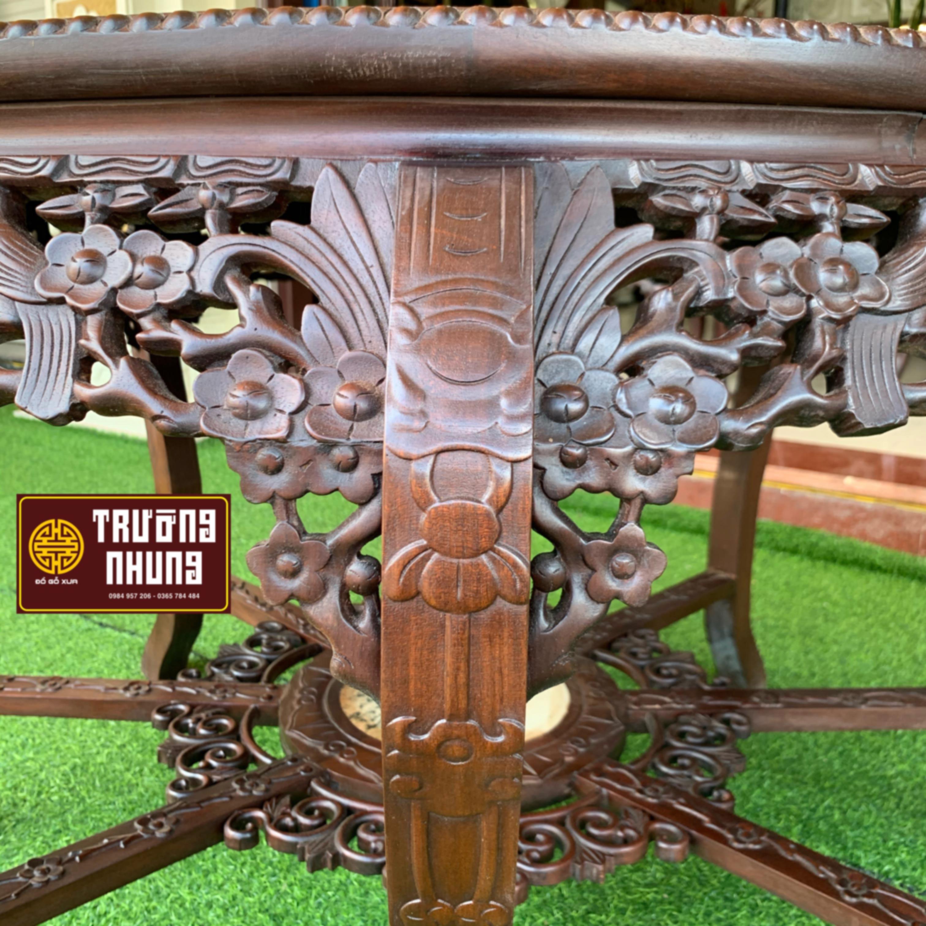 bàn - chạm - tích - hoa - mai - bộ - ghế - ăn - bàn - tròn - 9 món - gỗ - gụ - ĐỒ - GỖ - XƯA - TRƯỜNG - NHUNG