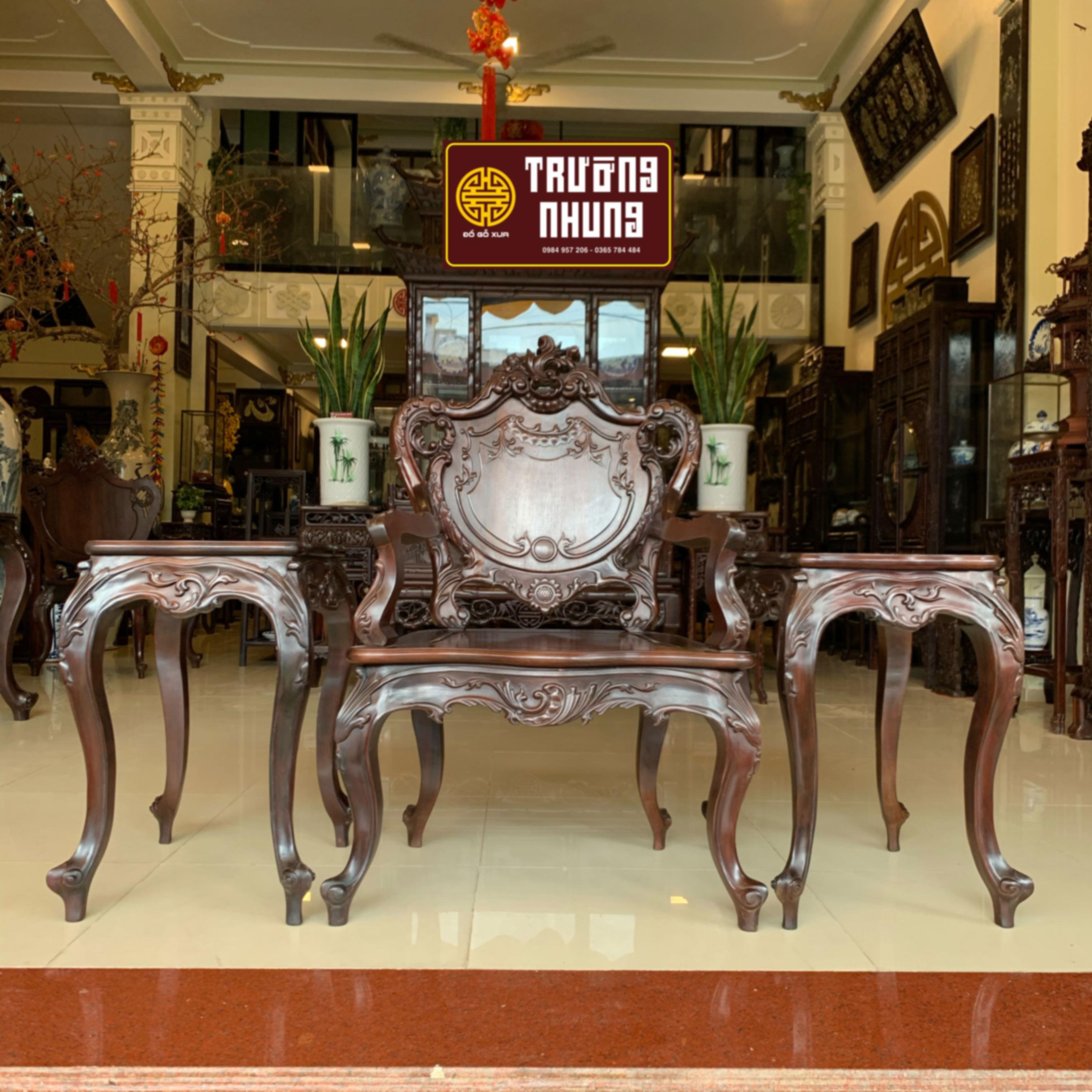 bộ 3  - bộ - ghế - Louis - gỗ - gụ - mật - ĐỒ - GỖ - CỔ - XƯA - ĐẸP - TRƯỜNG - NHUNG