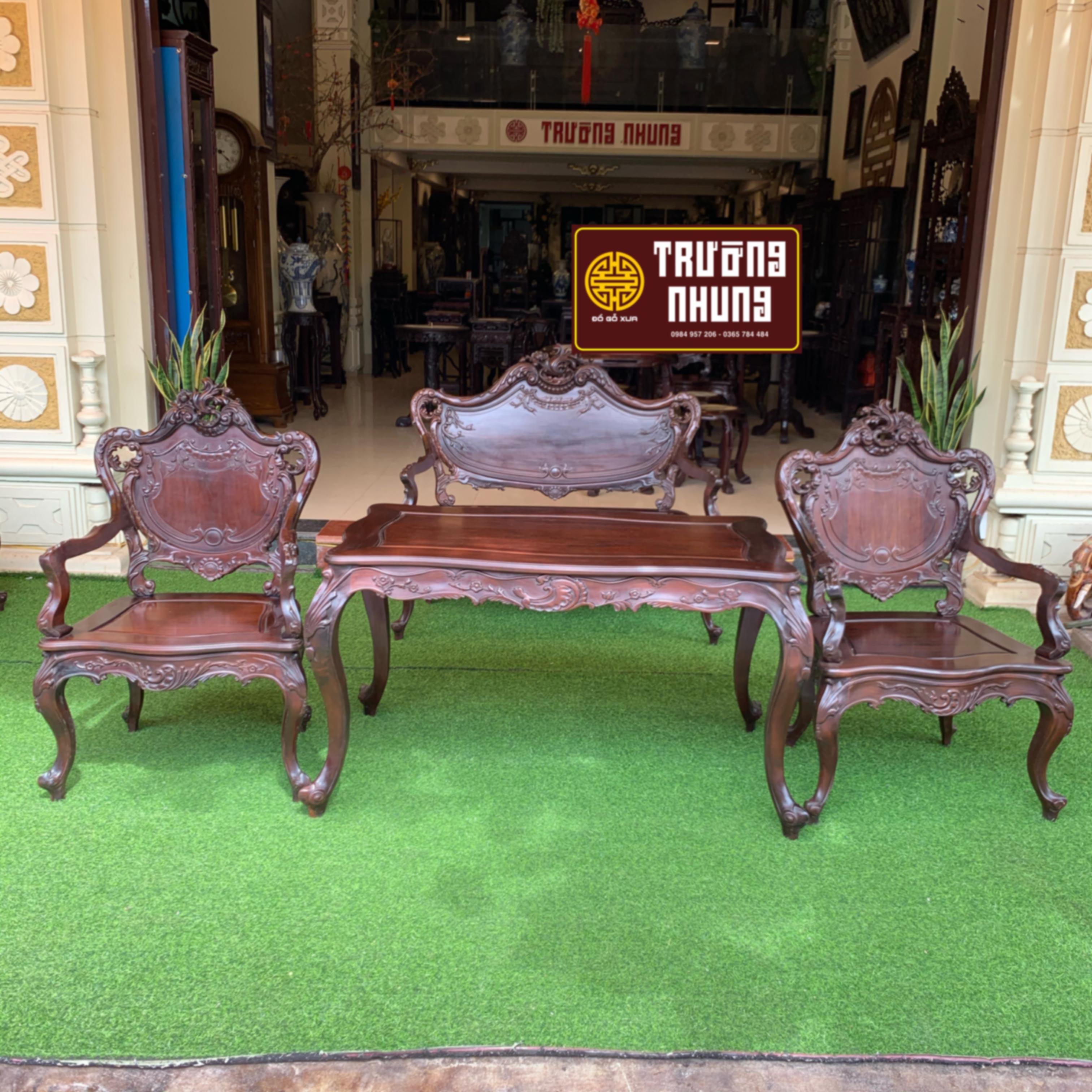 bộ 4  - bộ - ghế - Louis - gỗ - gụ - mật - ĐỒ - GỖ - CỔ - XƯA - ĐẸP - TRƯỜNG - NHUNG